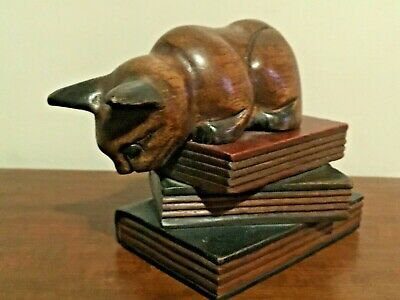 Vintage Wooden Carved Cat Crouched On Stack Of Books