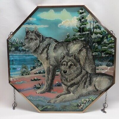 """Hautman Brothers AMIA Hand Painted Wolves Stained Glass 22"""" Wolf Suncatcher"""
