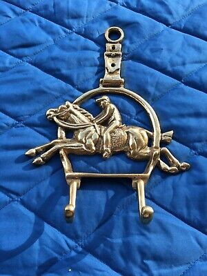 Vintage Brass Jockey Riding a Horse Coat or Hat Hook