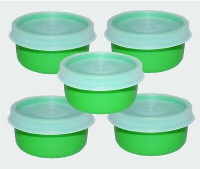 Tupperware SMIDGETS Green w/Sheer Seals ~ Mini 1 oz Containers ~ Set of 5 ~ NEW!