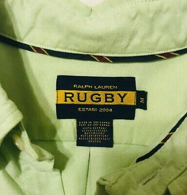 RALPH LAUREN Rugby Mens M Green University Oxford Long Sleeve, Polo Name Label