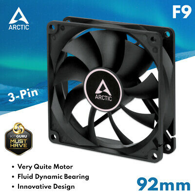 PC Case Low Noise Fan Arctic Cooling F9 92mm Silent 3-Pin Fluid Bearing