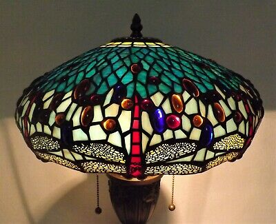 Tiffany Style Leaded Glass  Table Lamp Jeweled DRAGONFLY Shade w/ Decorative