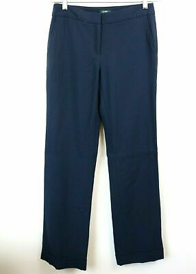J Crew Size 2T Womens Pants Trousers Lined Favorite Fit Navy 100% Wool Career