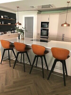 Bo Concept leather & solid oak Adelaide bar stools
