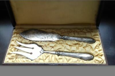 ANTIQUE 19TH C SILVER PLATE ORNATE REPOUSSE CUT OUT ENGRAVED FISH SERVING 2parts