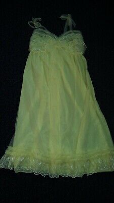 Genuine vintage Stylecraft Lingerie nightie yellow nylon great condition 10 - 12