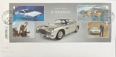 GB 2020 Commemorative Very fine used James Bond Miniature Sheet on envelope