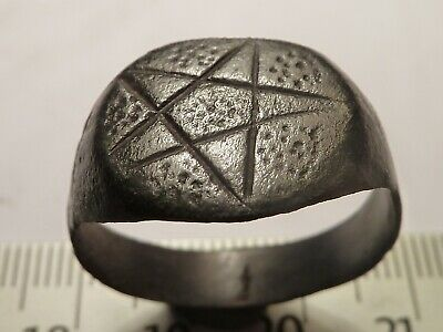 6664Ancient Roman bronze ring with a pentagram 21mm