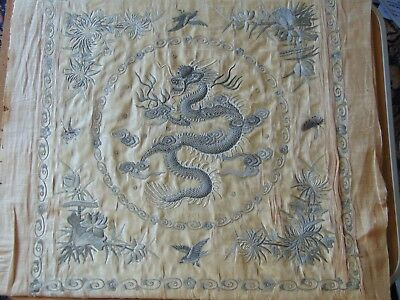 Fine Antique Chinese Hand Embroidered Silk Embroidery Dragon Panel Cover Signed