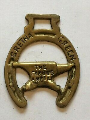 """Horse Brass  3 ¾"""" approx Gretna Green The Famous Anvil"""