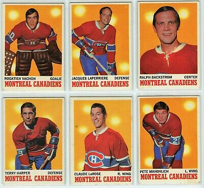 1970-71 Topps Montreal Canadiens 6 Card Team Set VG to EX (031220)