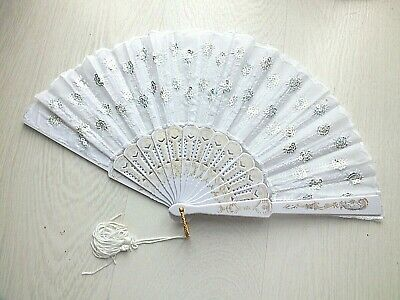 """2 Xl Blue Pink Dance 16"""" Chinese Hand Fan Special Effect Wavy Edge Stage Party"""