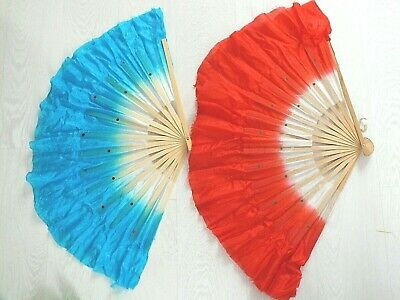 """2 Xl Red Blue Dance 16"""" Chinese Hand Fan Special Effect Wavy Edge Stage Party"""