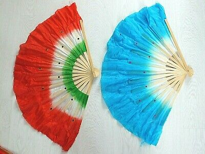 """2 Xl Red Blue Green Dance 16"""" Chinese Hand Fan Special Effect Wavy Edge Party"""