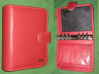 """COMPACT ~ 1.25"""" ~ Red S LEATHER Franklin Covey 365 Planner DAY ONE BINDER 2180"""