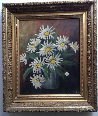 Beautiful Painting Antique Impressionist Bouquet of Daisies Oil on Canvas Signed