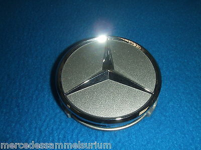 COPERCHIO MOZZO SET NERO LUCIDO CROMO STELLA Originale Mercedes-Benz 66,8 mm