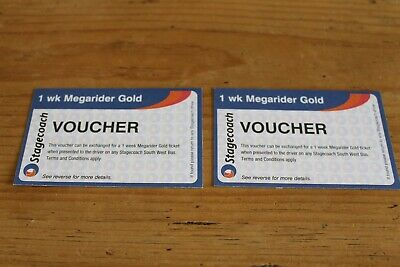 2X 1 Week Stagecoach Mega Rider Gold Vouchers South West Buses Face Value £60