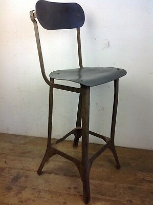 Vintage machinists steel factory draftsmans high chair stool industrial