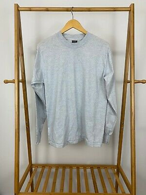 VTG Fruit Of The Loom Blank Heather Gray 50/50 Long Sleeve T-Shirt Size M USA