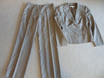 Petite Sophisticated Sz 6 Wool & Silk Pant Suit Brown & Pink Plaid Lined Stretch