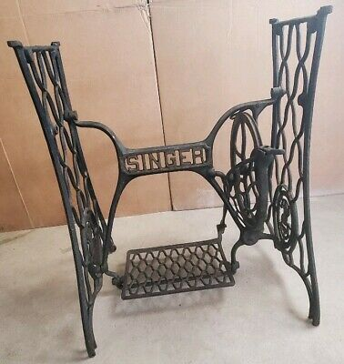 1908 Antique Cast Iron Singer Sewing Machine Base Treadle Rustic Shabby Chic
