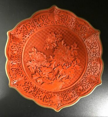 Chinese Hand Carved Red Lacquer Cinnabar Hexagon Plate 19th Century(六角剔红盘)