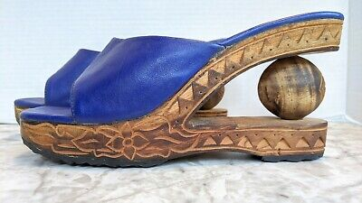 Wearable Art Wooden Carved Shoes Blue Leather Upper Ball Wedge Heel Boho 8.5/40