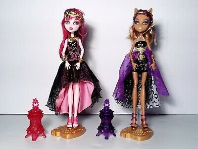 Monster High 13 Wishes Lot of 2 Clawdeen Wolf & Draculaura Dolls Mattel