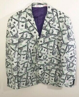 Oppo Suits Mens Blazer Gray Multi 100 Dollar Bill Two Button Money Jacket 52