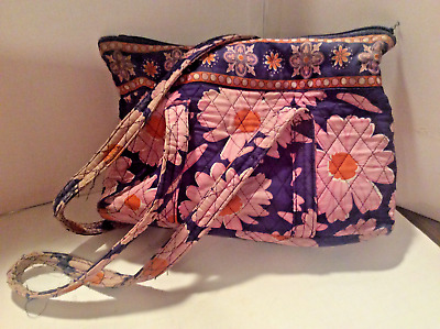 Med size, Navy blue-pink floral design, quilted tote/handbag w/ 6 inside pockets