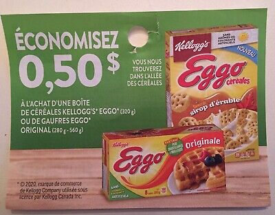 Lot of 10 x 0.50$ Kellogg's Eggo Products Coupons Canada