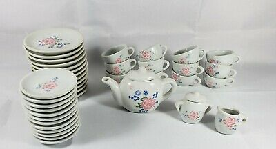Tea Set Childs China Play Toy 36 PC Pot, Sugar, Creamer Plates, Saucers, Cups