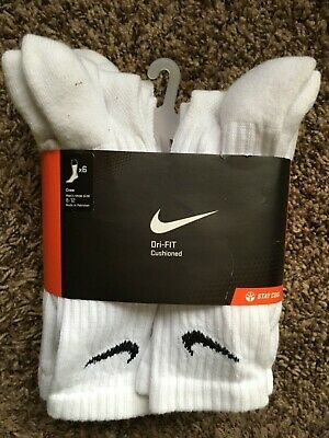 Nike Men's Dri-FIT Cushioned Crew Socks - 6 pairs Large White SX-4445-101