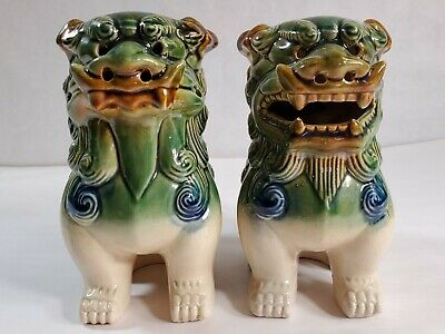 """Vintage Pair (2) Chinese Green Glazed Pottery Foo Dog Lion Statue 7"""" Majolica #2"""