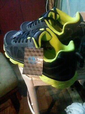 athletic sneakers shoes 10 1/2 mens black lime green running lightweight