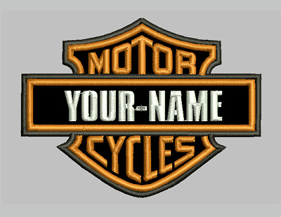 """Vintage Harley Davidson embroidered patch Sew On 3.5"""" wide Customize your name"""