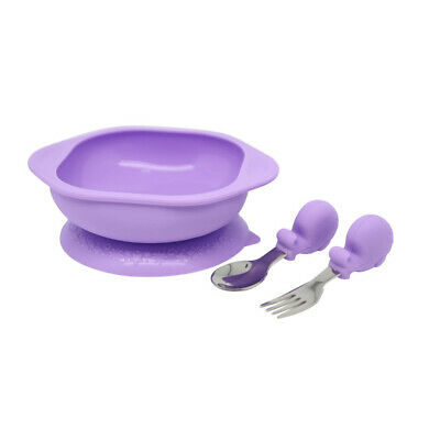 Marcus & Marcus Baby/Toddler Feeding Mealtime Set w/Bowl/Fork/Spoon Lilac Willo