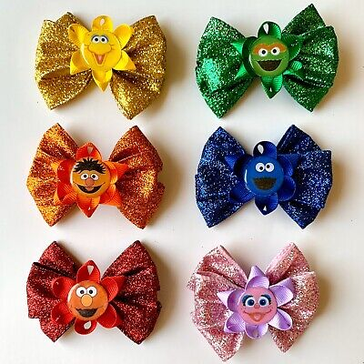 """✨🎀 My """"Glittery Sesame Street"""" Collection Girls Hair Bow 🎀✨ FREE SHIPPING"""