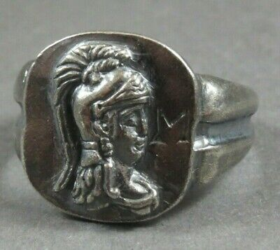 Ancient Roman Military Legionary Silver Ring Legion I Minerva Circa 82 AD
