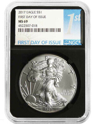 Rare 2017 Silver American Eagle NGC MS69 First Day Label Retro Black Holder