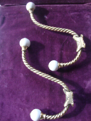 Antique victorian matched pair brass and porcelain rope twist coat hooks
