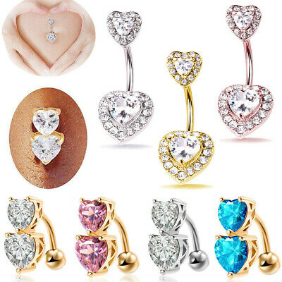 Heart Belly Button Bars Crystal Drop Dangle Dangly Body Piercing Navel Ring Gift