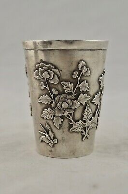 Antique C.1900 Chinese Qing Dynasty Export Silver Floral & Butterfly beaker cup