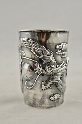 Antique C.1900 Chinese Qing Export Silver Dragon Chasing Pearl beaker cup
