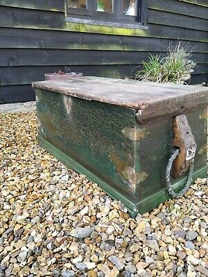 19th Century Sea Chest Crusty Paint Ideal Storage Coffee Table
