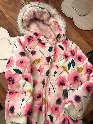 George Girls 5-6 Years Pink Floral Coat With Hood Padded Warm For Winter