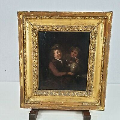 Antique 19th century Oil On Panel Two Men Drinking Tavern Interior Teniers Style