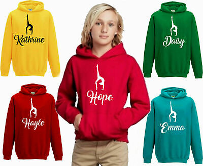 Personalised Your Name Gymnastic Hoodie, Girls Dance Gym Kit Gift Kids Top